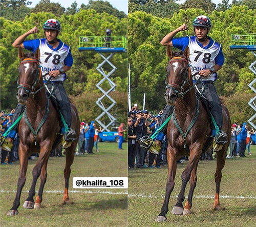 UAE team members Khalifa Ali Khalfan al Jahouri and 8 Minute. The top photo, which went viral following the race, shows blood on the horse's hooves as the pair crossed the finish line. The bottom photo, of the same moment, but mysteriously lacking blood, appeared online after the first one disappeared from Facebook.