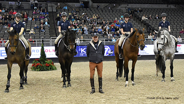 Author and trainer George Morris never stops traveling — last week he gave a clinic for four riders during a ticketed performance of the International Omaha. Photo© 2018 by Nancy Jaffer