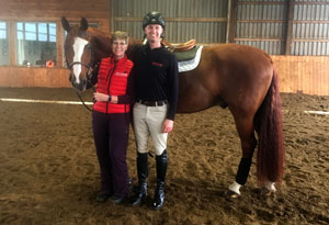Pam, Brandon and Ben at Stonewood Equestrian, practicing for Rider Level 8 Test.