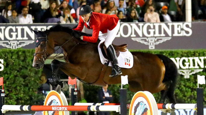 Thumbnail for Mario Deslauriers and Bardolina 2 suspended by FEI