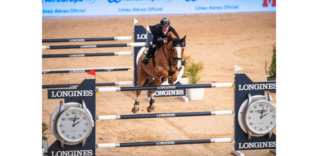 Three-time series champion, Germany's Marcus Ehning, flew to victory with Pret a Tout in today's Longines FEI Jumping World Cup™ 2019/2020 Western European League qualifier at Madrid in Spain. FEI/Thomas Reiner Photo