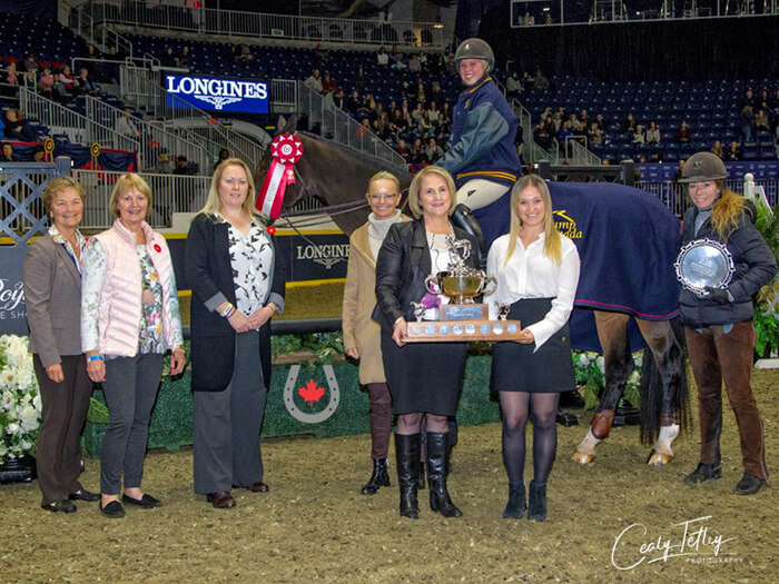 Sabrina von Buttlar was presented as the winner of the Jump Canada Medal National Final at the 2019 Royal Horse Show. Cealy Tetley