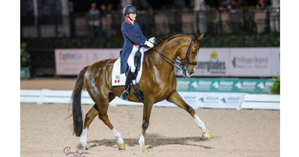 Brittany Fraser-Beaulieu of Saint-Bruno, QC, nabbed a pair of personal bests with All In during the CDI 5* competition at Adequan Global Dressage Festival 7 in Wellington, FL. (Susan J. Stickle)