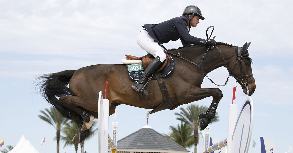 Darragh Kenny (IRL) and Carthano winning the $37,000 Equinimity WEF Challenge Cup CSIO4* at the Winter Equestrian Festival. (Sportfot)
