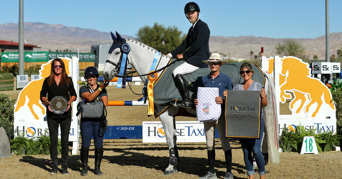 Thumbnail for Karl Cook rides to win in $100,000 HorseTaxi Grand Prix at DIHP