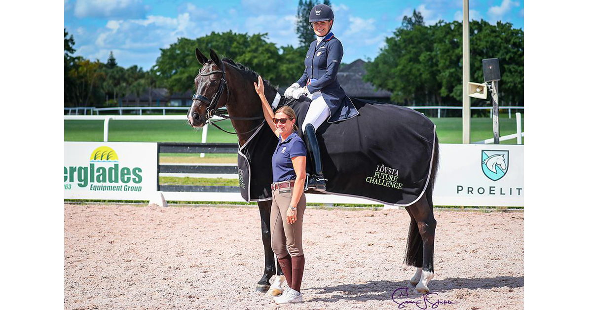 Ashley Holzer (USA) and Valentine won the last qualifier with the highest score of the season in the Lövsta Grand Prix Future Challenge Series . (©️Susan Stickle)