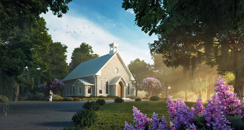 The charming chapel on site.