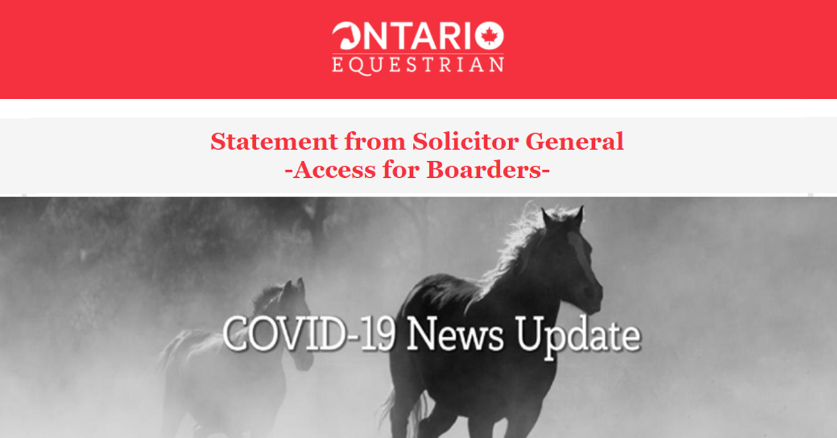 Thumbnail for Ontario Equestrian Statement Regarding Boarders Accessing Horses