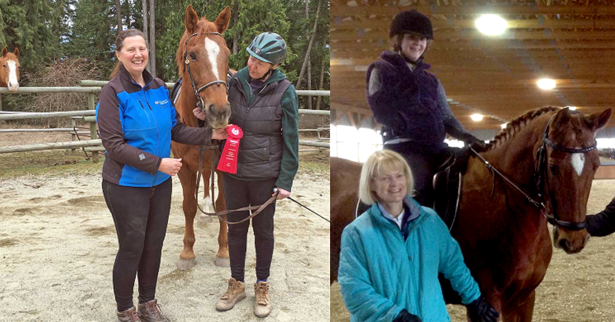 (Left photo) Christine Ross (left) and Luanne Armstrong. (Photo courtesy Michelle Whiteaway); (right photo) Jan Laraman (on ground), L.Dorado and Sarah Cummings. (Photo courtesy Sarah Cummings)